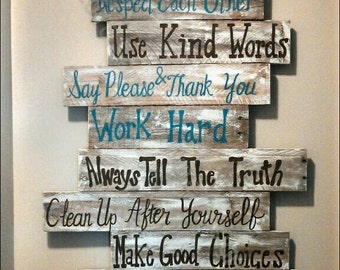 House rules sign, family rules sign, wood signs, wood signs sayings, wall signs, home rules, pallet signs, wood signs home,