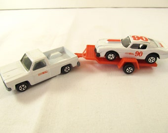 Vintage 1979 ERTL Chevy Fleet Pick Up and Chevy Camaro with Trailer, Limited Edition Hardees, #90 Road Runner with Trailer Hardees, S