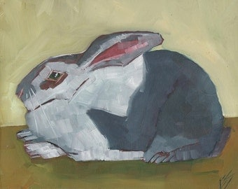 Grey and White Rabbit Original Oil Painting