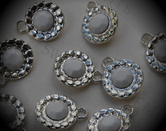 Genuine Silver Plated Swarovski Crystal  Daisy Flowers Charms In Chalk White