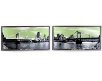 Pittsburgh Bridge Panorama Framed Xtra Large Silkscreen Print in Welded Steel Frame, PA