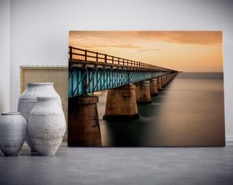 CANVAS Photograph of Seven Mile Bridge in Marathon Florida Keys At Sunset  Fine Art Long Exposure