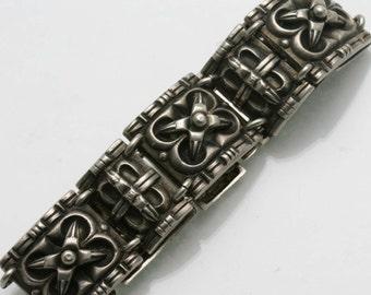 Estate 925 Sterling Silver Oxidized Wide link Bracelet Solid Israel Vintage 1970's