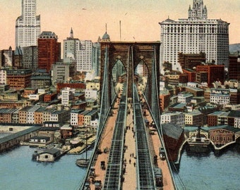 Vintage Illustrated American Art Brooklyn Bridge Souvenir Postcard Divided Very GOOD Used Condition