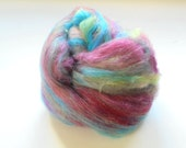 Reserved for Linn - AFTER THE RAIN - Art Batt for Spinning or Felting - One-of-a-Kind Soft Art Batt Merino, Bamboo, Alpaca, Silk, Firestar
