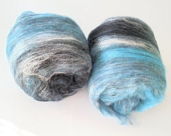 STORMY WEATHER - Soft Luxury Art Batts, Spinning Batts, Felting Batts, Soft Batts, Black Batts, Blue Batts, Merino, Alpaca, Silk
