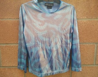 Blue holographic print long sleeve sea punk top size large space // cosmos // cosmic
