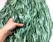 New 10 yd Sari Silk Ribbon Silvery Spruce Green Color Free Combined Shipping Fair Trade Felt Crochet Scrapbook Weave  Fiber Art Supply