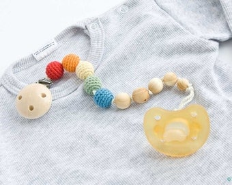 Wooden Pacifier Clip - Organic Cotton - Dummy Holder, Paci Chain - Rainbow