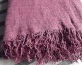 Pure Linen Bed Cover. Twin Full Size Burgundy Linen  Coverlet with Fringes. Beach blanket. Throw blanket.