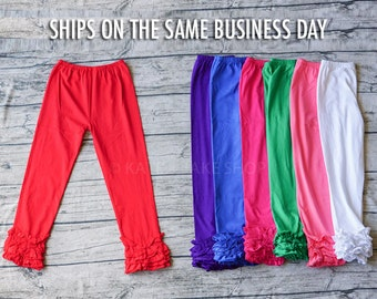 End of Season SALE!  Girls Ruffle Pants  Girls Leggings Girls Ruffle Pants - girls ruffle leggings Toddler Leggings Triple Ruffle Pants