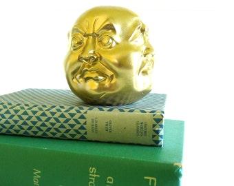 four faced buddha, statue, paperweight, tibet, kitschy, asian, metallic gold