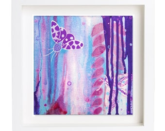 Small original acrylic painting 'Mini moth I' by Suzielou, wall canvas, butterfly picture, gift for a friend