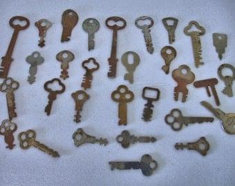 Vintage Lot of 30 Flat Rustic Keys Crafts--Mix Media--Altered Art--Speamkpunk Collector keys Lot no. 30