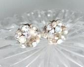 Pearl Cluster Wedding Earrings- Art Deco Bridal Studs- Pale Pink Earrings-Blush Wedding Earrings-Blush Vintage Inspired Studs-Brass Boheme