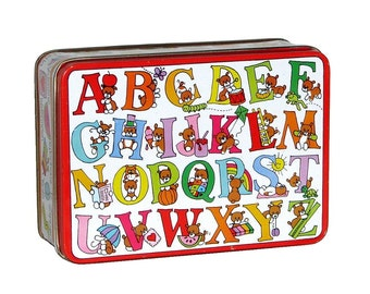Vintage 80s 90s Colorful Animal Alphabet Tin Box by J.S.N.Y.