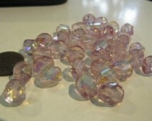 10mm Czech Light Pink Pastel Bead with Purple Undertone, Twisted Faceted Glass Bead with AB Finish, Polygon Twisted Faceted Bead