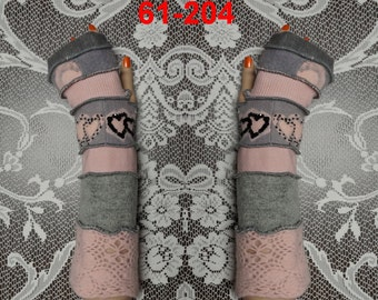 Arm warmers, Fingerless, elf coat, Gloves, women, patchwork, Upcycled, Cosplay, Gift, mittens, embroidered, knit, size M, size L