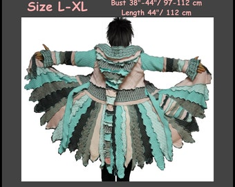 eLf cOAT. size L, size XL, elf sweater, hoodie. pixie. fairy. costume. gypsy. patchwork coat. Recycled dress. ooak