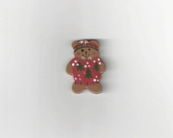 Clearance - Red Sweater Teddy Button by Mill Hill, #86157U