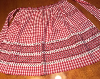 Vintage 1960's Red Gingham kitchen Apron with Black Cross Stitch design by MarlenesAttic