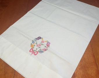 Vintage White Pillowcase with a floral embroidered design for housewares, bedding, decor by MarlenesAttic