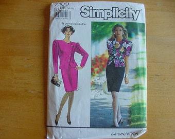 Vintage 1990s Simplicity Pattern 7100, Misses Suit-Dress, Semi-Fitted Jacket, Damon Dress,  Multi-Size 10-18, Uncut