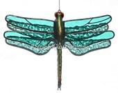 Stained Glass Aqua Dragonfly Suncatcher, Transparent Aqua Wings & Hand-Cast Metal Body, USA Handmade, Aqua Dragonfly, Aqua Firefly