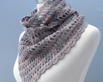 Hand crochet scarf/shawl in shades of pink and gray