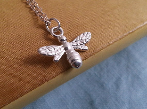 Bee necklace sterling silver bee pendant christmas gift for Sterling silver christmas jewelry
