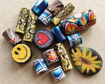 colorful kitschy polymer inspired recycled beads//assorted designs//happy face heart sunflower hawaii--mixed lot of 16