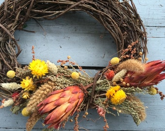 Oval grapevine wreath - Healdsburg. Seasonal Summer Indoor Outdoor. protea, dried flowers, grasses. rustic natural organic foraged SALE