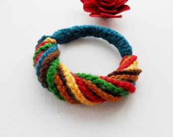 Crochet Bracelet Cuff - Chain Bracelet - Multicolored Bracelet - Wrist Cuff -  Wrist Warmer - Handmade Fashion Jewellery