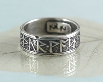 Sterling Band Ring - Rustic Viking Treasure - Runes Morte d'Arthur - Your Size