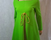 60s/70s Vintage Psych Trapeze Mod Dress With Rope Tie Detail