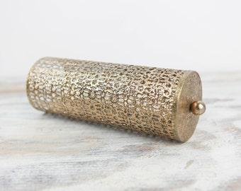 Vintage Metal Filigree Aerosol Can holder w/ cutout lattice pattern