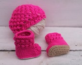 Baby Girl Clothes, Baby Girl, Hat and Booties, Crochet Baby Booties