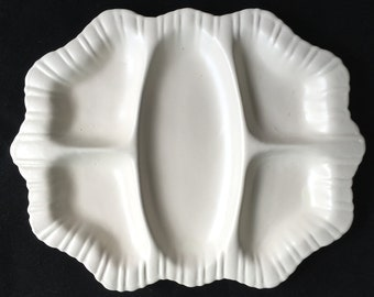 """H-T-F Stangl #1388 Colonial 12"""" 5-Part Relish Tray Matte Satin White Excellent Condition"""