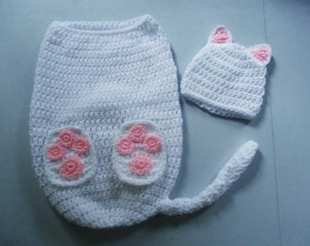 Kitty Cat Hat & Cocoon Snuggle Sack Set for Baby 0-3 Month Size Handmade Crochet - Photo Prop