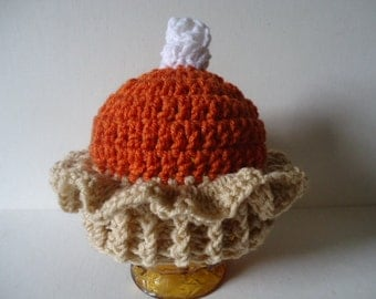 Pumpkin Pie Hat Thanksgiving Christmas Baby Toddler Young Child Handmade Crochet Photo Prop