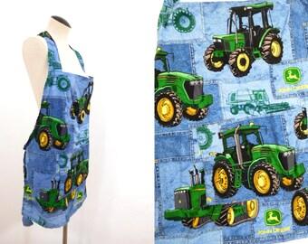 Handmade JOHN DEERE Farm Tractor Cooking Apron Lightweight Cotton BBQ Accessory Bib Cooks Smock Country Dad Gift