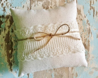 "8"" x 8"" Natural Cotton Ring Bearer Pillow w/ Lace & Jute Twine- Rustic/Country/Shabby Chic/Folk/Wedding-Barn Wedding-Beach Wedding"