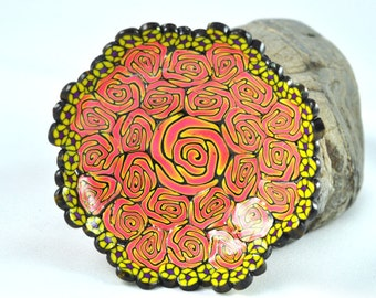 Bowl Orange and Yellow Rose designed flowers, Geometric Polymer Clay