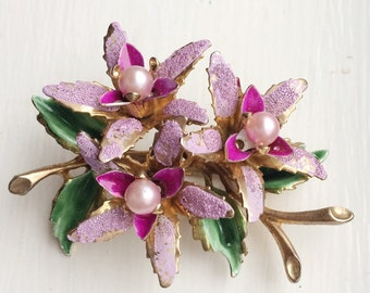 Lovely Vintage Enamel Flower Brooch, Sugared Petals. Pink Pearl Vintage Brooch