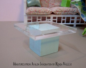 1:12 or 1/6th scale miniature dollhouse mint green modern wood and acrylic side table