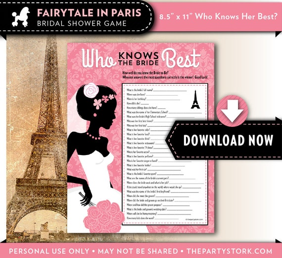 Printable Paris Theme Who Know's The