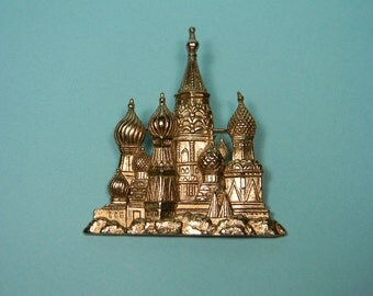 JJ Gold Tone Towers Brooch or Pin, St. Basil Cathedral, Jonette Jewelry, 80s Vintage, Signed