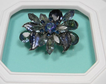 Bold Breathtaking Green and Blue Vintage Brooch or Pin, Rhinestones
