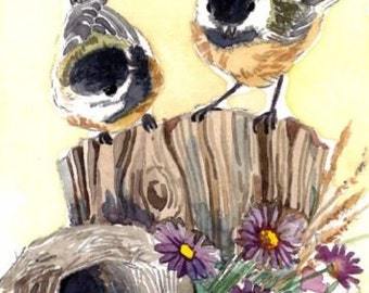 ACEO Limited Edition 3/25- Whisper of violet, Chickadee, Bird art print of an original watercolor, Gift idea for bird lovers