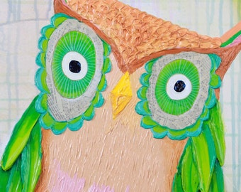 Curious Owl Print Original Acrylic Painting Art